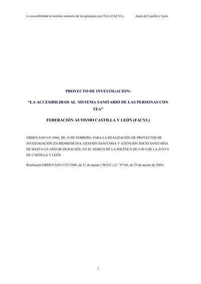 Memoria del proyecto de investigación Accesibilidad de las personas con TEA al Sistema Sanitario
