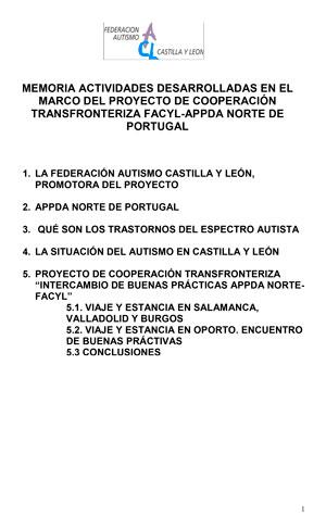 Proyecto de cooperación trasfronteriza. Intercambio de buenas prácticas FACYL-APPDA norte de Portugal